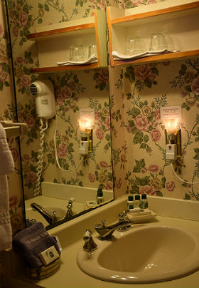Bathroom sink with a night light. Pink rose wall paper and round sink. Makeup remover washcloth and all the amenities.