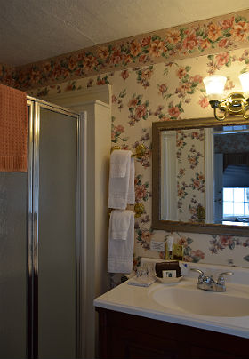 Bathroom with Pink Roses Wall paper single sink and shower